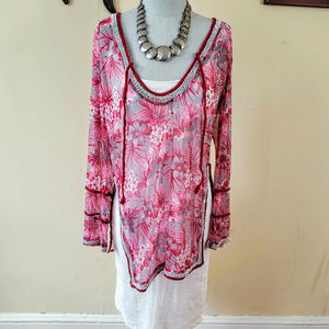 New Letarte Luxe Hawian Flower Cover-Up Tunic